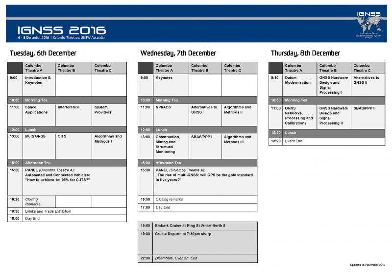 IGNSS2016 Schedule Outline